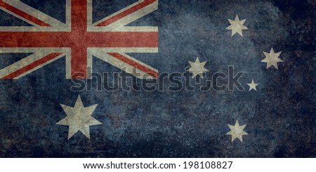 National flag of Australia, officially the Commonwealth of Australia. This Vintage distressed version is to scale 1:2 - stock photo