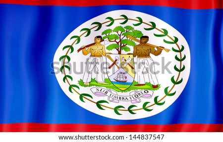 National flag of Belize - stock photo