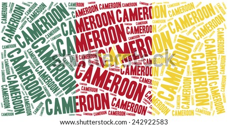 National flag of Cameroon. Word cloud illustration. - stock photo