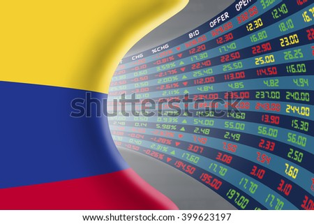 National flag of Colombia with a large display of daily stock market price and quotations during normal economic period. The fate and mystery of Bogota stock market, tunnel / corridor concept. - stock photo