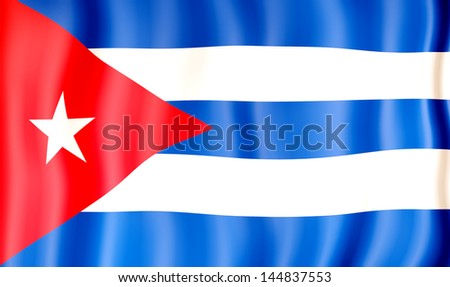 National flag of Cuba - stock photo