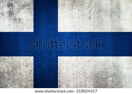 National flag of Finland. Grungy effect. - stock photo