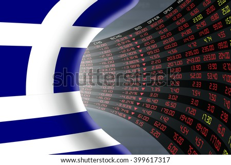 National flag of Greece with a large display of daily stock market price and quotations during depressed economic period. The fate and mystery of Athens stock market, tunnel / corridor concept. - stock photo