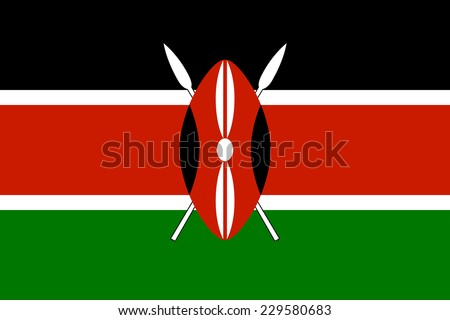 National flag of Kenya, officially the Republic of Kenya, Authentic version to scale and color - stock photo