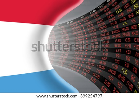 National flag of Luxembourg with a large display of daily stock market price and quotations during depressed economic period. The fate and mystery of Luxembourg stock market, tunnel / corridor concept - stock photo