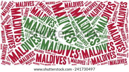 National flag of Maldives. Word cloud illustration. - stock photo
