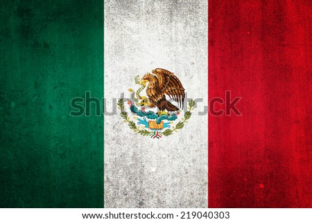 National flag of Mexico. Grungy effect. - stock photo