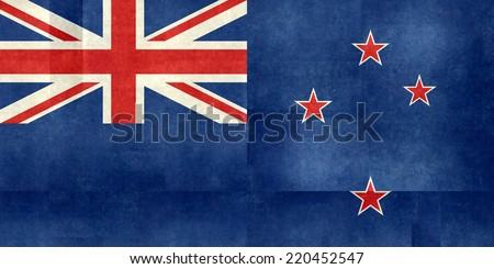 National flag of New Zealand - folded paper textured version - stock photo