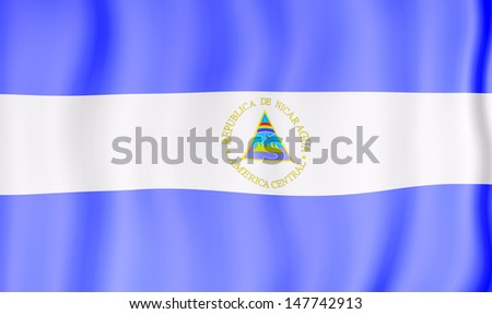 National flag of Nicaragua - stock photo