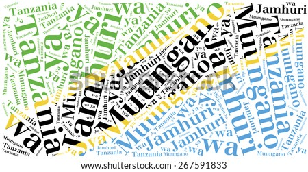 National flag of Tanzania. Word cloud illustration. Inscription stands: United Republic of Tanzania - stock photo