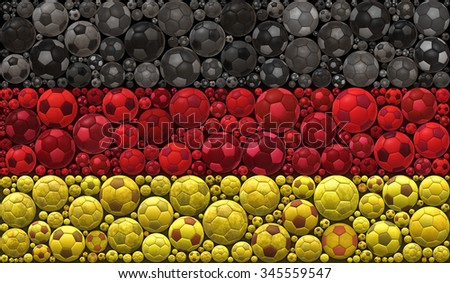 National Flag of the Federal Republic of Germany Soccer Balls Mosaic Illustration Design Concept Sport Background - stock photo