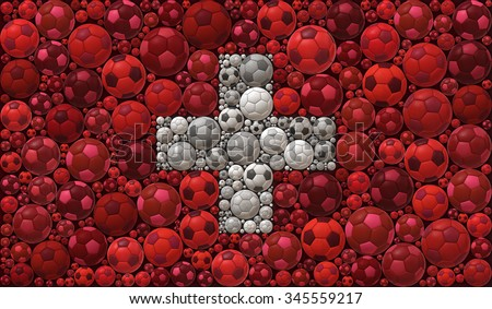 National Flag of the Swiss Confederation Soccer Balls Mosaic Illustration Design Concept  Sport Background - stock photo