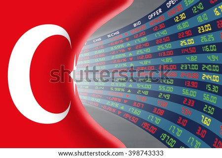 National flag of Turkey with a large display of daily stock market price and quotations during normal economic period. The fate and mystery of Ankara stock market, tunnel/corridor concept. - stock photo