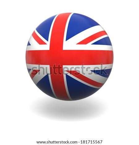 National flag of United Kingdom on sphere isolated on white background - stock photo