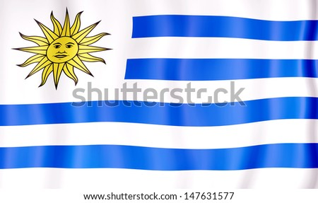 National flag of Uruguay - stock photo