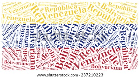 National flag of Venezuela. Word cloud illustration. Spanish inscription stands: Republic of Venezuela. - stock photo