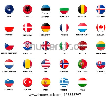 national flags from NATO (North Atlantic Treaty Organization) members - stock photo