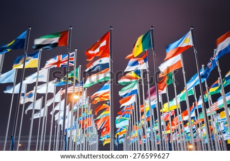 national flags of countries all over the world - stock photo