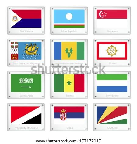 National Flags of Sint Maarten, Sakha, Singapore, Saint Pierre and Miquelon, Saint Vincent and The Grenadines, Sikkim, Saudi Arabia, Senegal, Sierra Leone, Sealand, Serbia and Seychelles.  - stock photo