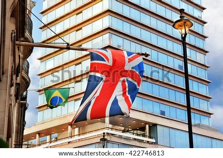 National flags of UK and Brazil in London - stock photo