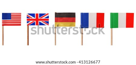 National flags of USA UK Germany France Italy isolated over white - stock photo