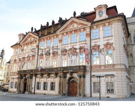 National Gallery, famous Prague houses - stock photo