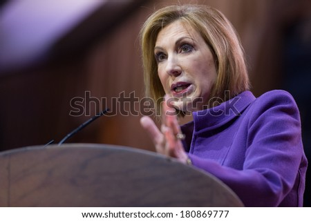 NATIONAL HARBOR, MD - MARCH 8, 2014: Carly Fiorina speaks at the Conservative Political Action Conference (CPAC). - stock photo