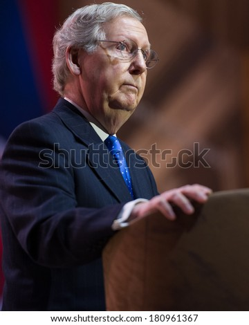 NATIONAL HARBOR, MD - MARCH 6, 2014: Senator Mitch McConnell (R-KY) speaks at the Conservative Political Action Conference (CPAC). - stock photo