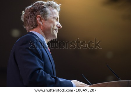 NATIONAL HARBOR, MD - MARCH 7, 2014: Senator Rand Paul (R-KY) speaks at the Conservative Political Action Conference (CPAC). - stock photo