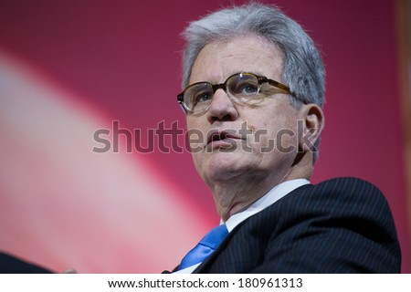 NATIONAL HARBOR, MD - MARCH 6, 2014: Senator Tom Coburn (R-OK) speaks at the Conservative Political Action Conference (CPAC). - stock photo