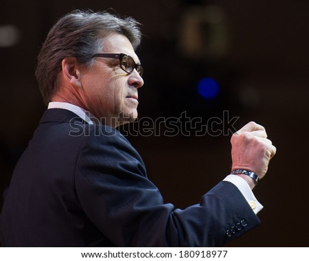 NATIONAL HARBOR, MD - MARCH 7, 2014: Texas Governor Rick Perry speaks at the Conservative Political Action Conference (CPAC). - stock photo