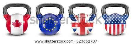 National kettlebells / 3D render of heavy kettlebells with Canadian, EU, UK and USA flags - stock photo