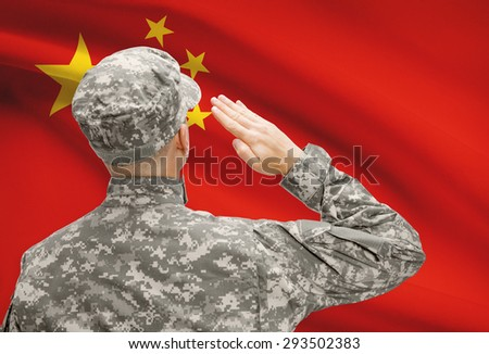 National military forces with flag on background conceptual series - China - stock photo