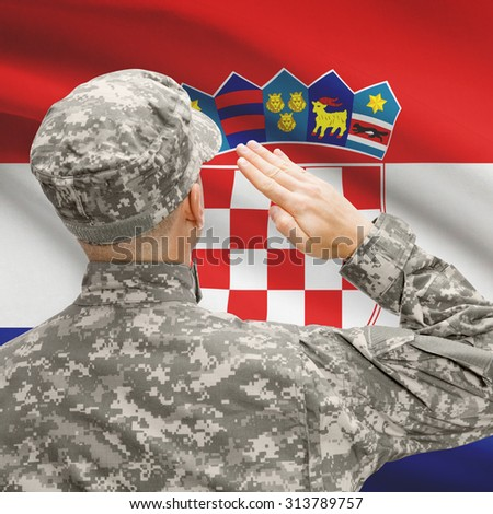 National military forces with flag on background conceptual series - Croatia - stock photo