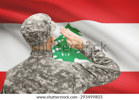 National military forces with flag on background conceptual series - Lebanon - stock photo
