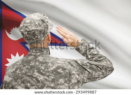 National military forces with flag on background conceptual series - Nepal - stock photo
