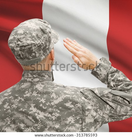 National military forces with flag on background conceptual series - Peru - stock photo