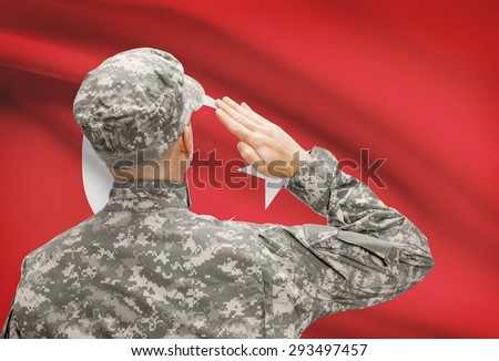 National military forces with flag on background conceptual series - Turkey - stock photo