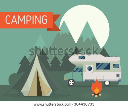 National mountain park camping scene with family trailer caravan at night. Campsite place landscape with RV traveler truck, tent, campfire, wood and rising moon. Hiking journey vacation concept. - stock photo