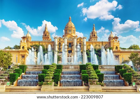 National Museum in Barcelona,Placa De Espanya,Spain. - stock photo