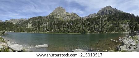 National Park Aiguestortes lake Ratera in Pyrenees Catalonia Spain - stock photo