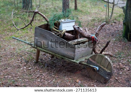 National park Curonian Spit. Old wooden wheelbarrow in the forest. - stock photo