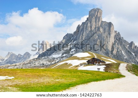 National Park panorama and Dolomiti mountains in Cortina d'Ampezzo, northern Italy - stock photo