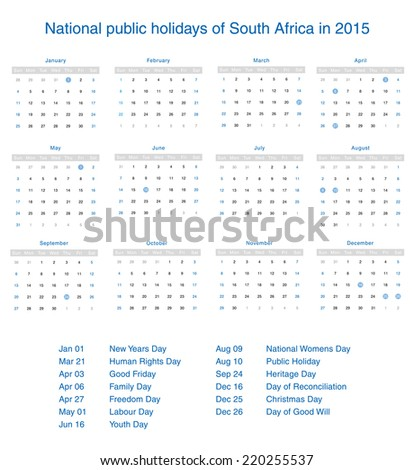National public holidays of South Africa in 2015. Template design ...