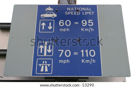 National Speed Limit Sign, UK Ferry Port - stock photo