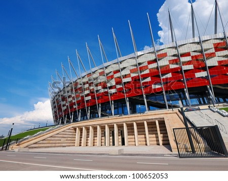 NATIONAL STADIUM IN WARSAW, POLAND - APRIL 21: Warsaw National Stadium on April 21, 2012. The National Stadium will host the opening match of the UEFA Euro 2012. - stock photo