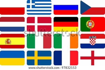 National team flags European football championship 2012. Flags from all 16 participating countries, sorted horizontally according to groups - stock photo