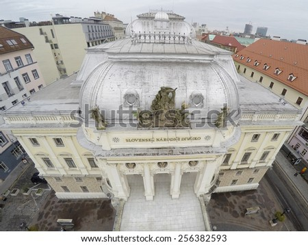 National theatre in Bratislava from above. - stock photo