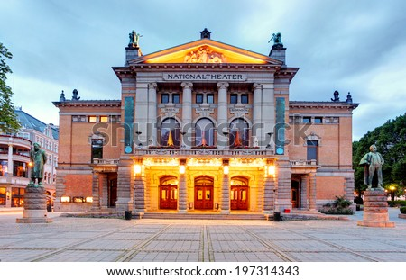 National Theatre in Oslo - Nationaltheatret - stock photo