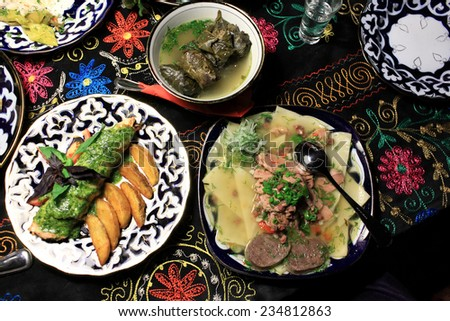 National Uzbek food on a table in the restaurant - stock photo
